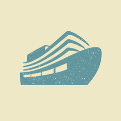 Ship icon in grunge style
