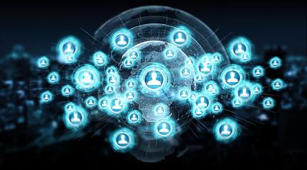 Social media digital interface background 3D rendering