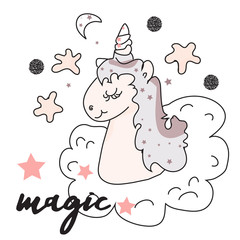 The cute magic Unicorn and fairy elements collection. Isolated vector illustration. Print, magic sticker, banner