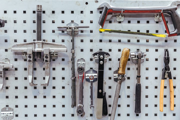 Tools of a mechanical workshop
