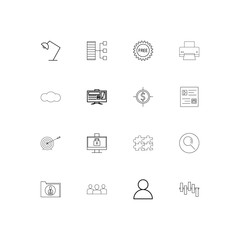 Business simple linear icons set. Outlined vector icons