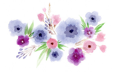 Floral watercolor illustration. Summer composition. Bouquet of delicate watercolor spring flowers