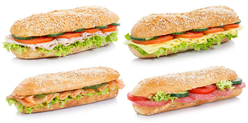 Photo sur Plexiglas Snack Collection of sub sandwiches with salami ham cheese salmon fish whole grains isolated on white