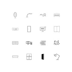 Furniture simple linear icons set. Outlined vector icons