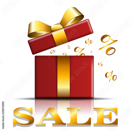 Gift Box Sale Icon Surprise Present Red Template Gold Ribbon Bow