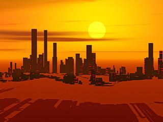 Skyline mit Hochhäusern im Abendrot