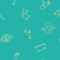 Seamless pattern with plumbing icons for your design