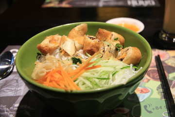 Vietnamese Pho with Spring Rolls