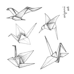 Origami - set of 5 gray paper birds
