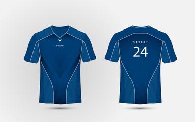 Blue and white layout football sport t-shirt, kits, jersey, shirt  design template