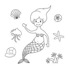 Cartoon mermaid on white background.