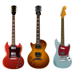 Picture of three different vector electro guitars.