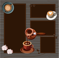 Wooden background with cups of coffee.