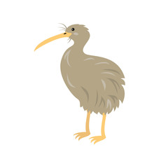 Cartoon kiwi icon on white background.