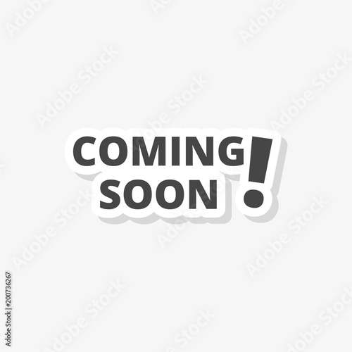 coming soon sticker simple vector icon stock image and royalty