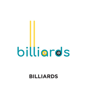 billiards logo isolated on white background for your web, mobile and app design