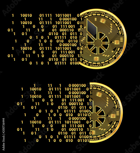Set of crypto currency golden coins with black lackered dogecoin