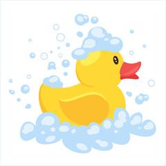 yellow duck in soap foam