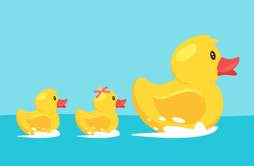 yellow rubber duck with family