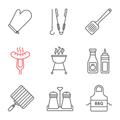 Barbecue linear icons set
