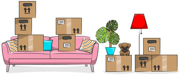 Umzug Kartons mit Couch, Hund und Einrichtungsgegenständen Zeichnung isoliert