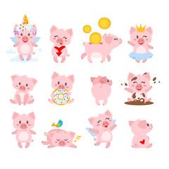 set of cute pink pig