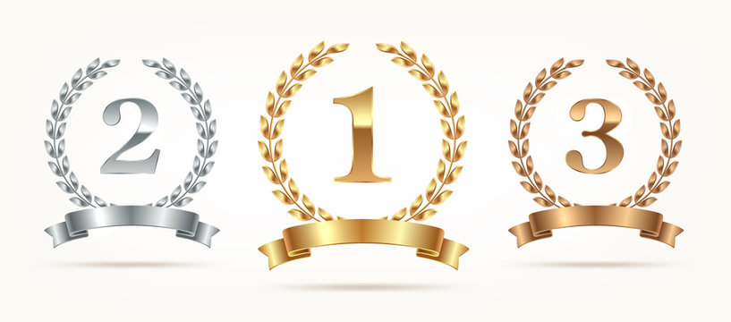 Set of rank emblems - gold, silver, bronze. First place, second place and third place signs with laurel wreath and ribbon. Vector illustration