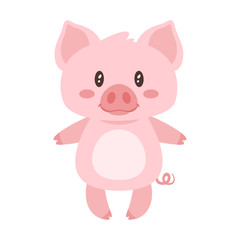 cute pink standing pig