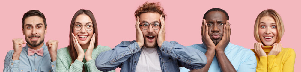 Amazed bearded young male looks with surprisment, cheerful Asian woman in eyewear, brunette man clenches teeth and raises fists, stressful dark skinned man and cheerful blonde woman pose indoor