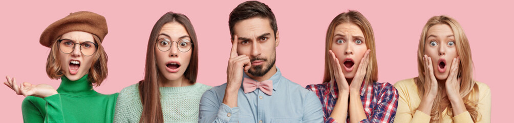 Shocked stressful four women and thoughtful bearded male in formal clothing, isolated over pink background. Displeased beautiful woman wears beret and spectacles. People, surprisment, negativity