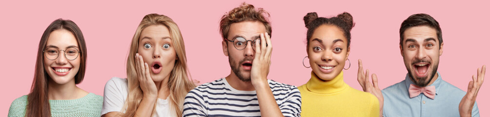 People, emotions, ethnicity concept. Diverse young women and men express surprisment, happiness and puzzlement, have different facial expressions, isolated over pink background. Stunned man in centre