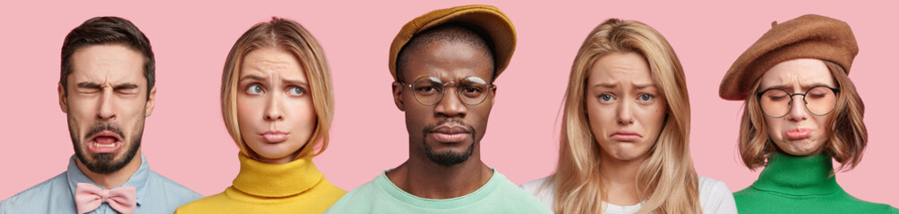 Group of diverse mixed race frustrated young people express negative emotionns, frown faces in displeasure, discontent with latest news, have unhappy expressions, isolated over pink background