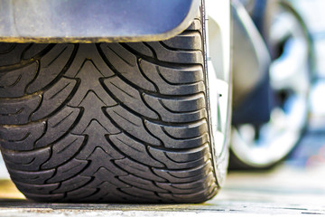 Close up of car tire, selective focus.