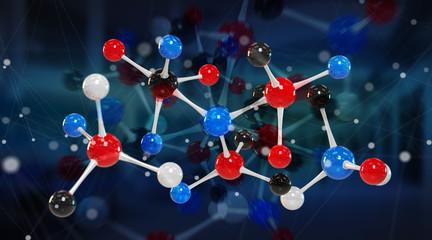 Modern digital molecule structure 3D rendering