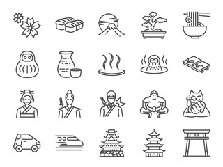 Japan icon set. Included the icons as Tokyo tower, sakura, Geisha, Japanese Sake, eco car, speed train, hot spring, castle and more