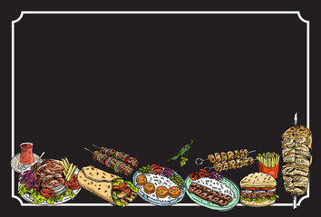 Hand drawn Turkish food on a chalkboard, Vector Illustration