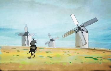 Don Quijote Kampf gegen Windmühlen