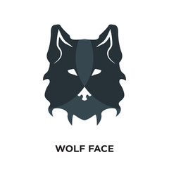 wolf face logo isolated on white background for your web, mobile and app design