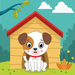 Vector clip art illustration of a dog and its house.