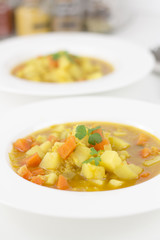 Vegetable soup on white background yummy
