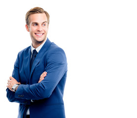 Happy young businessman, isolated