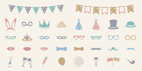 Pastel colured party icons - big set. Vector.