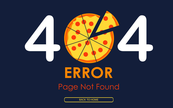 404  error page not found vector pizza graphic background