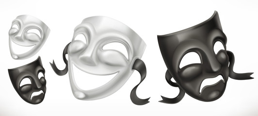 Theatrical masks. Comedy and tragedy 3d vector icon