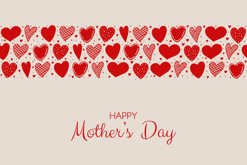 Mother's Day - concept of a poster with hand drawn hearts. Vector.