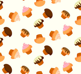 Pattern of cakes with fillings and a gentle yellow background