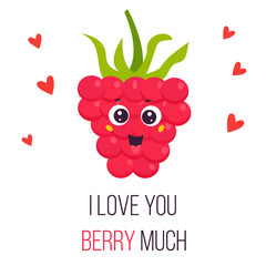 Bright poster with cute funny pink raspberry