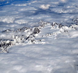 View of Caucasus Mountains from above