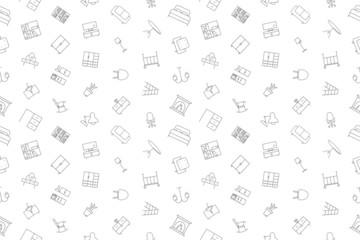 Vector furniture pattern. Furniture seamless background