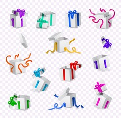 Vector cartoon open present gift box white wrapping elegant colorful ribbon bow set. Birthday anniversary party new year christmas valentine holiday invatation greeting card transparent background